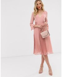 ASOS Plunge Neck Lace Insert Pleated Midi Dress - Pink