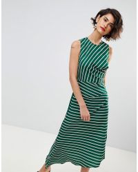 Warehouse - Asymmetric Hem Stripe Sleeveless Dress - Lyst