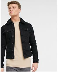 River Island Denim Jacket With Borg Collar - Black
