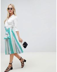 Oasis - Midi Skirt With Tie Detail In Stripe - Lyst