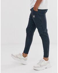 SIKSILK Slim Cropped Pants In Navy Pinstripe - Blue