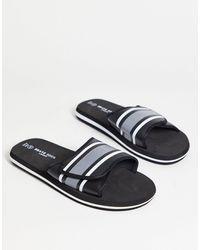 Brave Soul Stripe Velcro Strap Sliders - Black