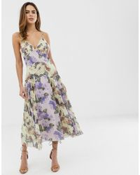 ASOS - Cami Midi Dress In Mixed Floral With Pleat And Lace Trim - Lyst
