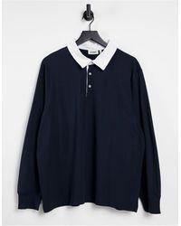 Weekday – Gabriel – Rugby-Poloshirt - Blau