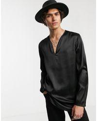 ASOS Regular-fit Satijnen Overhemd Zonder Sluiting - Zwart