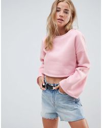 Glamorous - Cropped Sweatshirt With Flare Sleeves - Lyst