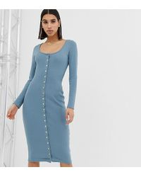 Missguided - Popper Through Midi Dress In Blue - Lyst