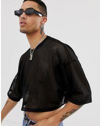 ASOS T-shirt court oversize en tulle à manches mi-longues - Noir