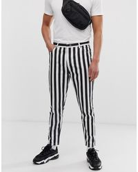 Bershka Striped Carrot Fit Jeans - Black
