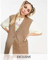 Collusion Oversized Waistcoat - Brown