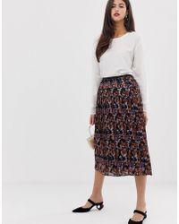 Y.A.S - Pleated Scarf Print Midi Skirt - Lyst