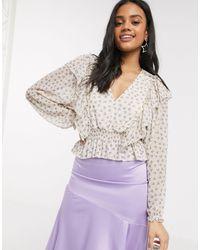 Pull&Bear Top à imprimé floral avec taille cintrée - Multicolore