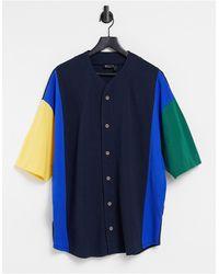 ASOS Camiseta blanca con bolsillo y ribetes a contraste - Azul