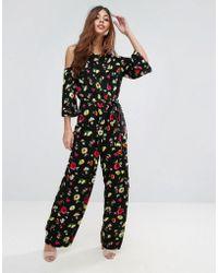 Warehouse Floral Cold Shoulder Jumpsuit - Black
