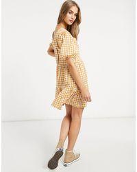 Warehouse Vestido corto amarillo a cuadros vichy - Multicolor