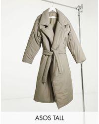 ASOS Asos Design Tall Collared Belted Puffer Maxi Coat - Brown