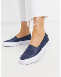 Lacoste Marice Leather Slip On Trainers - Blue