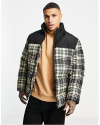 ASOS Puffer Jacket In Check With Contrast Panel - Black