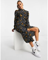 AX Paris Платье Миди С Высоким Воротом И Цветочным Принтом -многоцветный - Черный