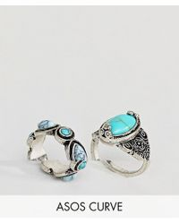 ASOS - Pack Of 2 Faux Turquoise Stone Rings - Lyst