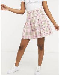 New Look Minigonna a pieghe stile tennis pastello a quadri - Rosa