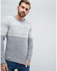 Another Influence - Jacquard Block Knitted Jumper - Lyst