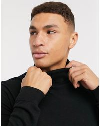 TOPMAN Knitted Roll Neck Jumper - Black