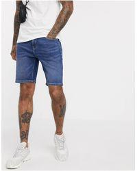 ASOS - Skinny Denim Shorts Dark Wash Blue - Lyst