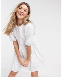 New Look Mini Poplin Smock Dress With Puff Sleeves - White