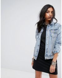 Glamorous Studded Boyfriend Denim Jacket - Blue
