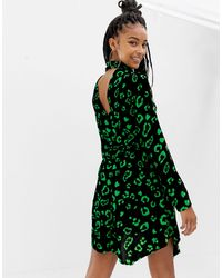 Collusion Leopard Print Mini Skater Dress - Black