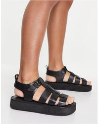 Office Fisherman Leather Chunky Sandals - Black