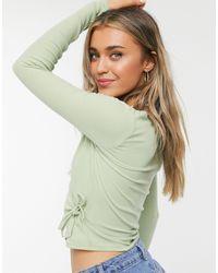 Monki Nadja Organic Cotton Ribbed Wrap Top - Green