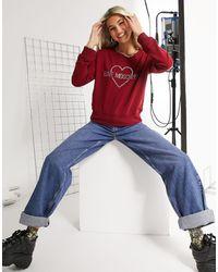 Love Moschino Красный Свитшот С Логотипом Из Стразов