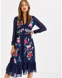 ASOS Embroidered Skater Midi Dress With Lace Trims And Pephem - Blue