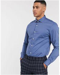 Moss Bros Moss London Slim Fit Shirt - Blue