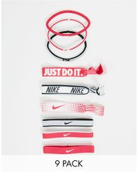 Nike 9 Pack Mixed Ponytail Holders - Pink