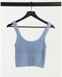 Stradivarius Fluffy Knit Crop Top Co-ord - Blue