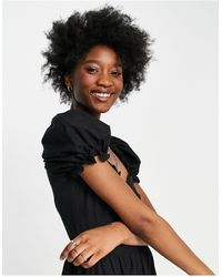 Stradivarius Milkmaid Poplin Dress With Puff Sleeves - Black