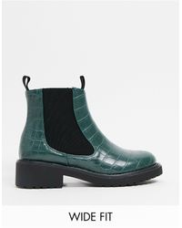 London Rebel Wide Fit Chelsea Ankle Boots - Green
