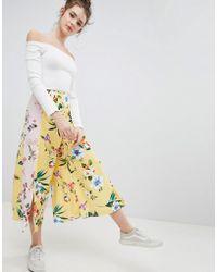 Bershka - Floral Culotte In Yellow - Lyst