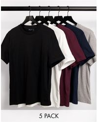 ASOS Confezione da 5 T-shirt girocollo - Blu