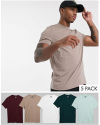 ASOS Confezione risparmio da 5 T-Shirt girocollo - Multicolore