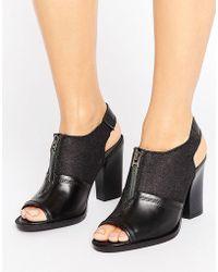 G-Star RAW Lynn Black Leather Heeled Sandals