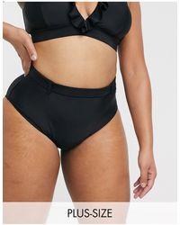 Simply Be High Waist Bikini Bottoms - Black