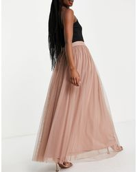 LACE & BEADS Exclusive Tulle Maxi Skirt - Pink