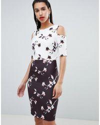 Little Mistress - Floral Print Contrast Pencil Dress - Lyst
