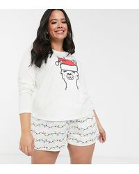 ASOS ASOS DESIGN Curve – Weihnachtlicher Pyjama aus T-Shirt und Shorts mit Einhorn- und Lama-Design - Natur