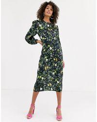 Never Fully Dressed Doorzichtige Midi-jurk Met Lange Mouwen En Contrasterende Peerprint - Groen