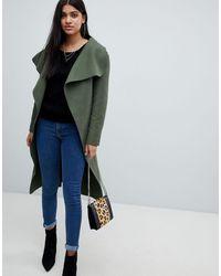 AX Paris Oversize-пальто С Поясом -серый - Зеленый